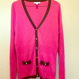 Lily Pulitzer Large pink & brown cardigan sweater